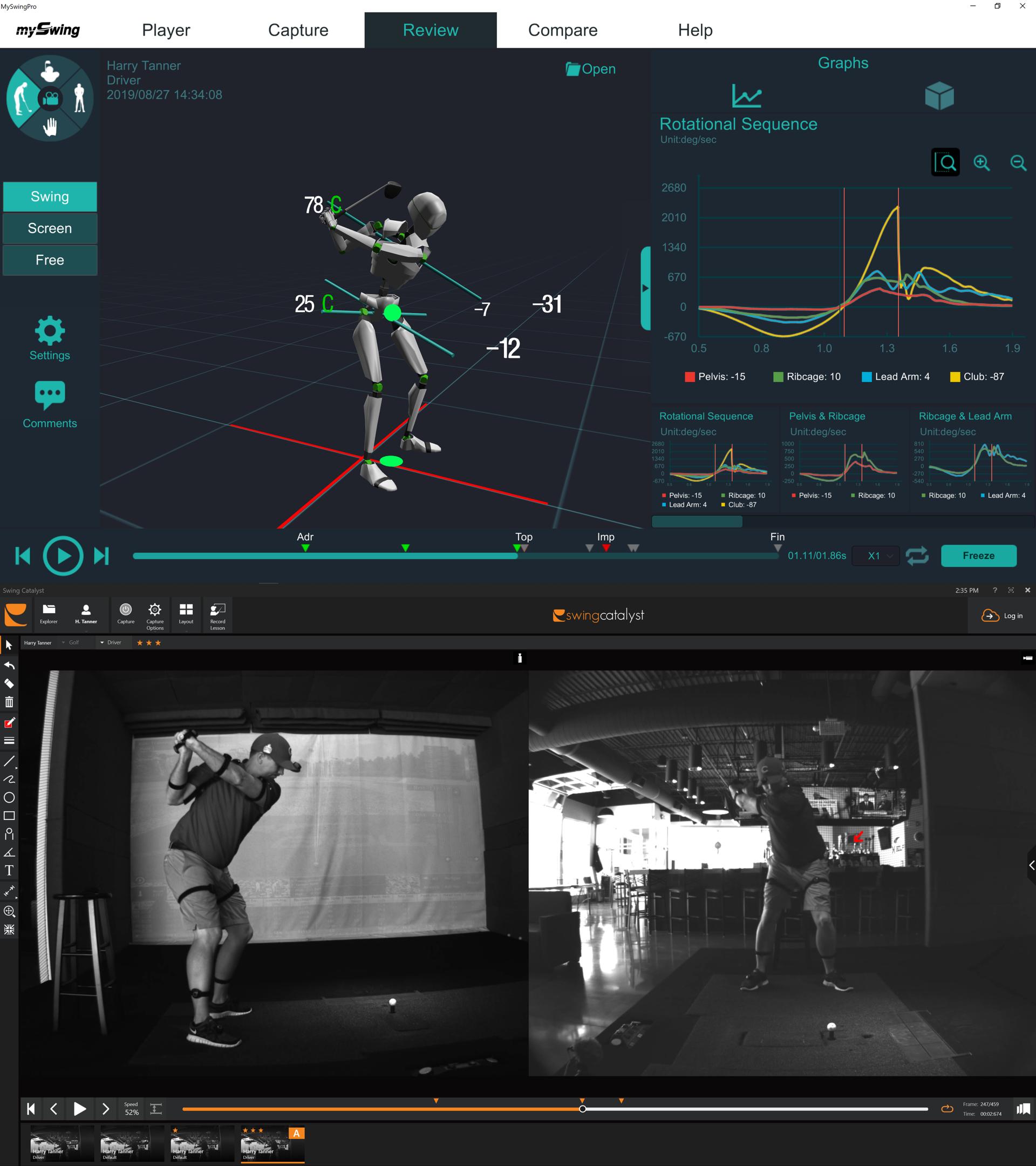 Image showcasing X-Golf swing analysis