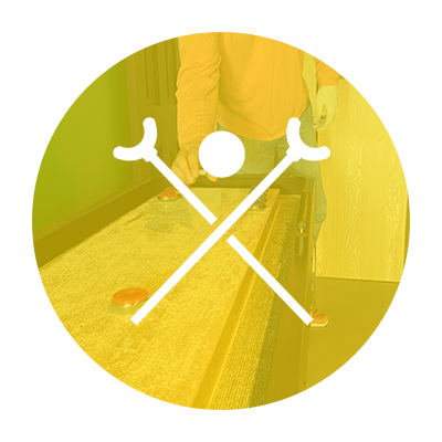 Graphic of shuffleboard handles and disc